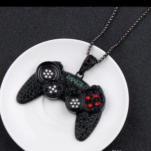 NWT Iced Out Game Controller Pendant Neckl…
